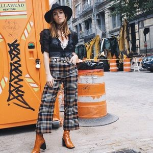 Zara Plaid wide leg trouser
